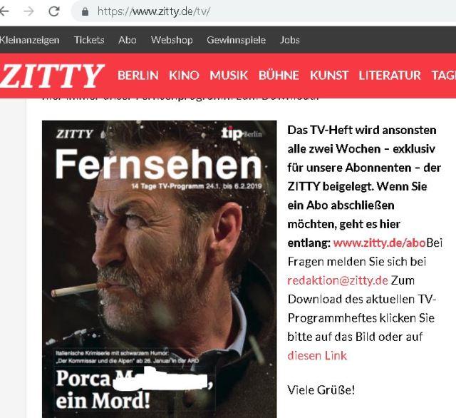 Imprecazione blasfema su rivista tedesca